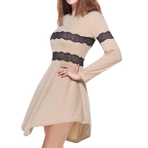Mode Frauen schlank Kleid Lace getäfelten Langarm Abendkleid Party