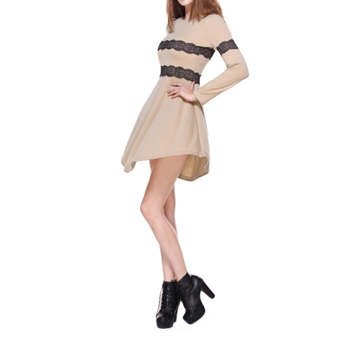 Las mujeres de moda Slim vestido con paneles de encaje de manga larga vestido de fiesta de noche