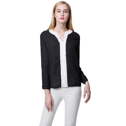 Nueva moda mujeres blusa de Gasa contraste V escote Sexy camisa Casual camisera