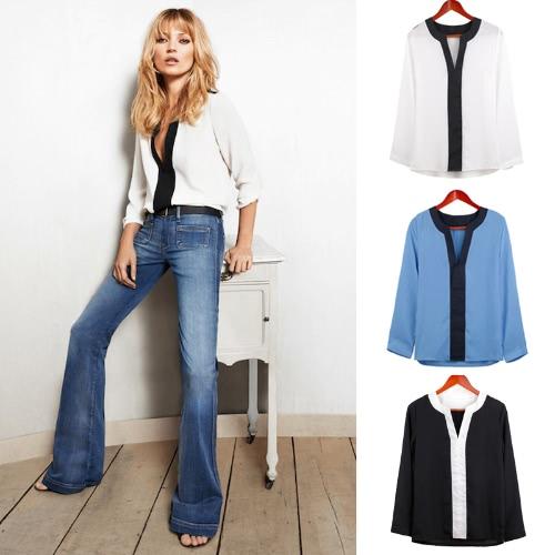 TOMTOP / Nova moda mulheres blusa Chiffon contraste V decote manga longa camisa Casual Tops