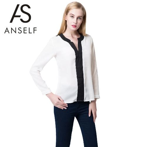 Nueva moda las mujeres blusa de Gasa contraste V escote Tops Manga larga camisa Casual Sexy