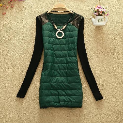 Mode Vogue Herbst Winter Frauen Dicke Shirt Farbe Block PU Leder Shouler Long Basic Shirt mit Kette