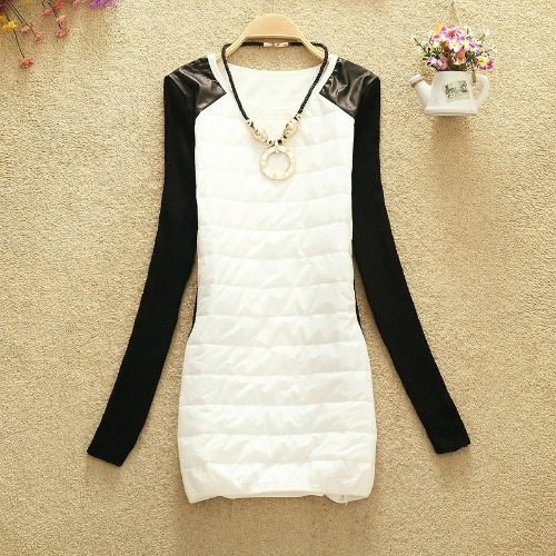 Moda Vogue otoño invierno mujer camisa gruesa Color bloque PU cuero Shouler básica camisa larga con collar