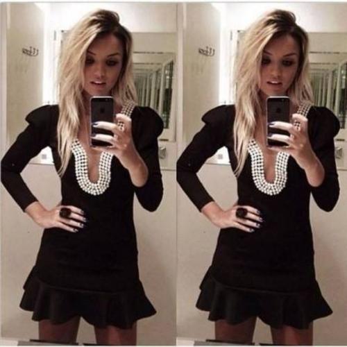 Sexy Damen Kleid tiefen V-Ausschnitt rückenfreie Bördeln gekräuselten Saum schlank Party Minikleid Clubwear