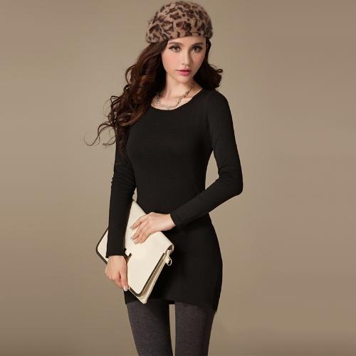 Nova moda de mulheres, vestido gola redonda manga longa cor sólida Casual Slim Mini