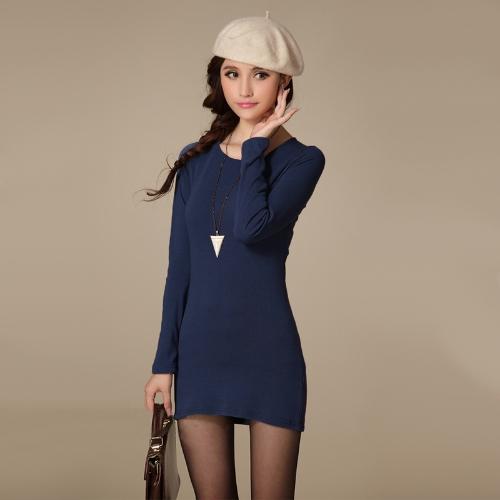 Nueva moda mujer vestido de cuello redondo manga larga Color sólido Ropa Casual Slim Mini