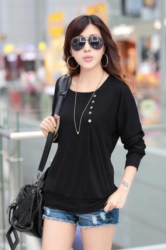 Neue Mode Frauen T-shirt O-Neck Batwing Ärmel lässig große Tastengröße Talsohle Shirt