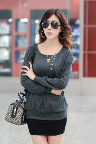 Nueva moda mujeres camiseta botón O cuello manga del Batwing Casual gran tamaño tocando fondo camisa