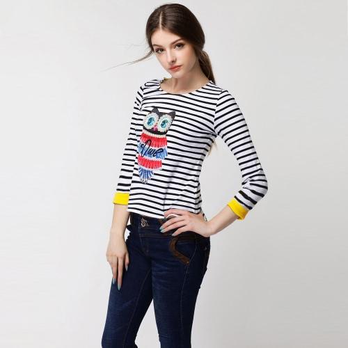 Moda mulheres t-shirt coruja padrão Beading listra assimétrica Hem rodada pescoço Tops de manga 3/4