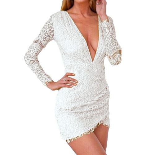 Nova quente mulheres Sexy Lace vestido com decote em v profundo manga longa Clubwear Bodycon Mini vestido túnica