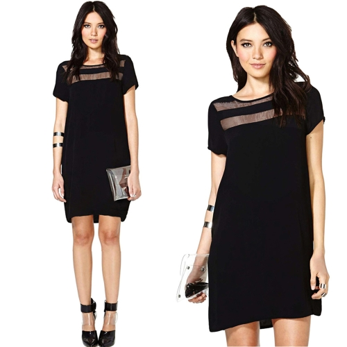 Tomtop coupon: Fashion Women Mini Dress Sheer Mesh Panels Crew Neck Short Sleeve Club Party Dress