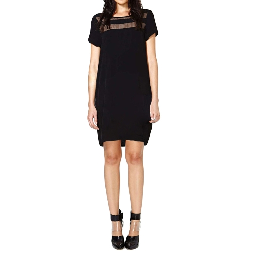Fashion Women Mini Dress Sheer Mesh Panels Crew Neck Short Sleeve Club Party Dress