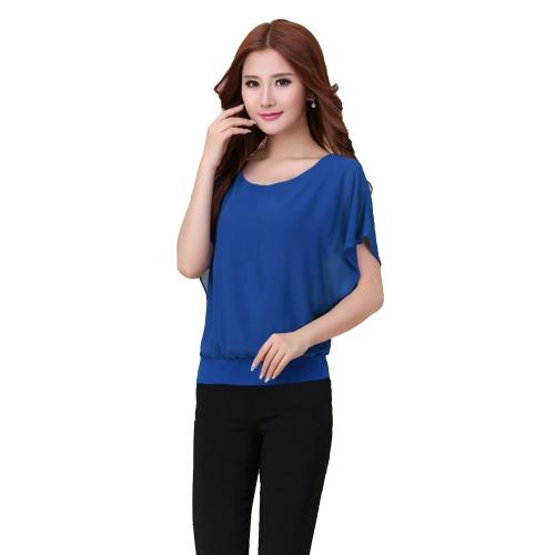 Nuova moda donna t-shirt Chiffon sovrapposizione girocollo maniche corte a pipistrello causale Tee top camicetta
