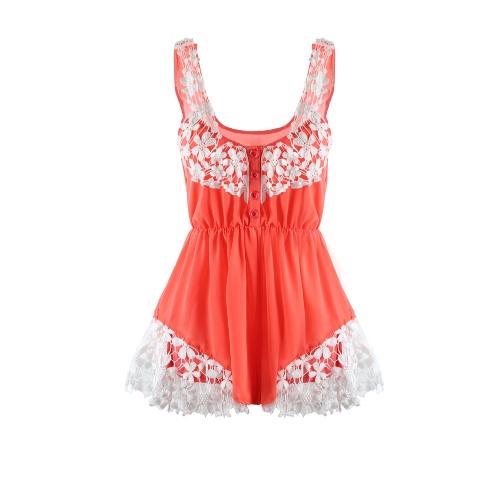Moda mujeres mamelucos gasa encaje Floral botón frontal elástico en la cintura sin mangas de la playa vestido Enterizo
