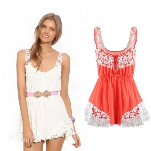 Мода женщин шифон Комбинезоны кружево цветочные фронта кнопку упругие талии рукавов пляж платье комбинезон фото