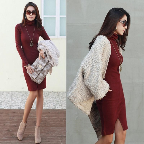 Neue koreanische Frauen kleiden Turtle Neck Langarm Split Design schlank OL Lady Bodycon Knit Dress
