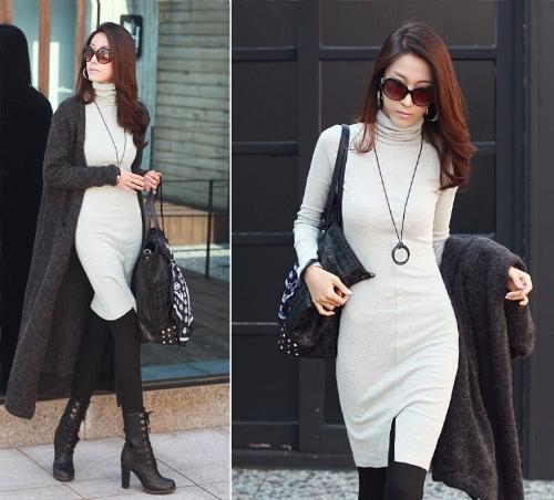 Mujeres coreanas nuevas Vestido de Tortuga cuello manga larga Split diseño Slim OL señora Bodycon Knit