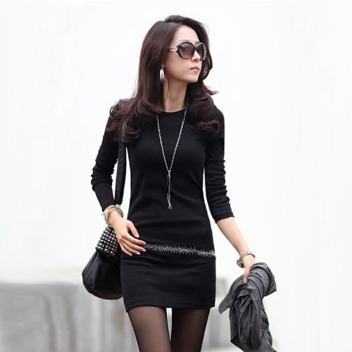 Nova moda mulheres OL magro vestem strass redondo pescoço manga longa estiramento Mini vestido
