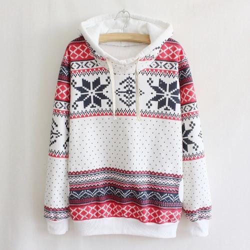 Mode Frauen Hoodie Schneeflocke Print Langarm Pullover Christmas Sweatshirt Sportwear