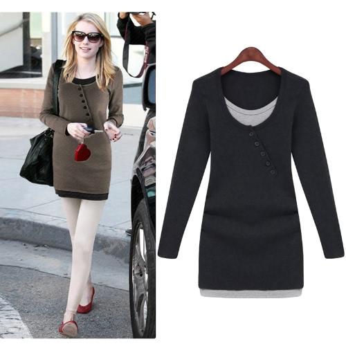 Moda mulheres Slim t-shirt cor bloco dos retalhos do falso duas peças manga longa Blusa Tops