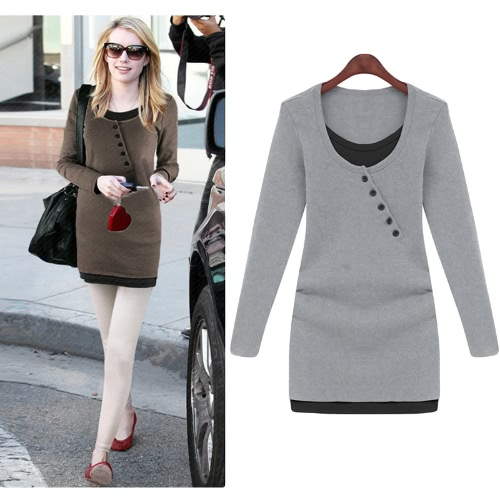 Moda mujer delgada camiseta Color bloque Patchwork falso dos piezas blusa camisera