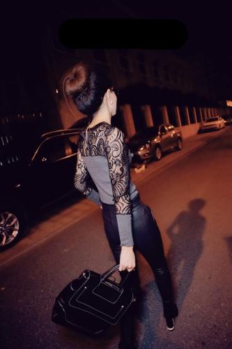 Nuova moda donna t-shirt Jersey pizzo Patchwork camicia manica lunga Slim affondamento camicia