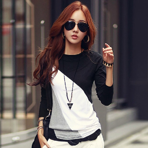 Nueva moda mujer camiseta Patchwork redondo cuello manga larga Casual Top Slim