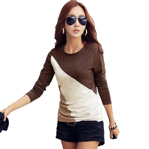 Nuova moda donna t-shirt Patchwork collo manica lunga Casual sottile piano rotondo