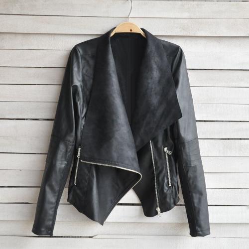Fashion Vintage Women Jacket PU Leather Patchwork Zipper Pocket Slim Short Motorcycle Coat Outerwear