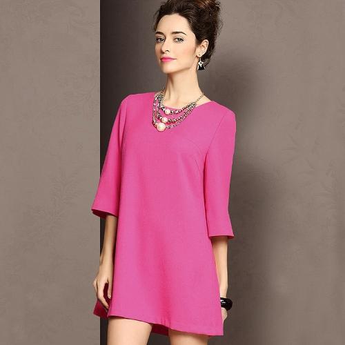 Moda Kobiety Luźna Sukienka Kurtka Trzecia Trzecia Suknia Sleeve Shift Mini