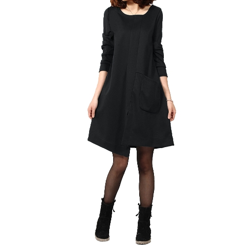 Nueva moda mujer vestido Patchwork bolsillo Split frente Irregular dobladillo redondo vestido suelto de manga larga de cuello