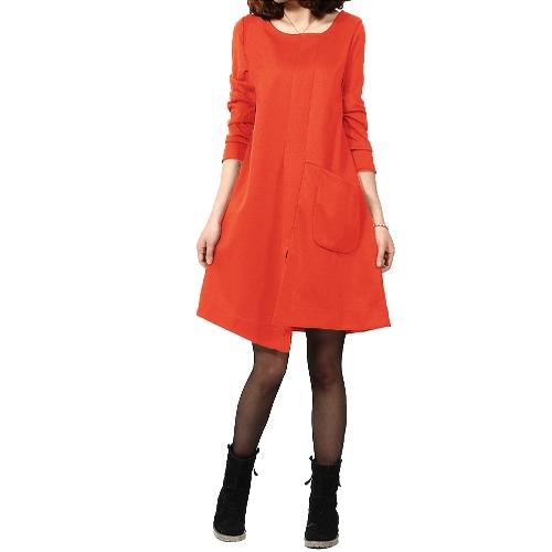 Nueva moda mujer vestido Patchwork bolsillo Split frontal borde Irregular ronda vestido suelto de manga larga de cuello