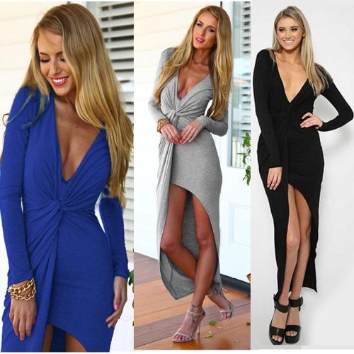 Nuove donne Sexy Maxi abito profondo scollo a v anteriore nodo lato Split Abito asimmetrico in Jersey