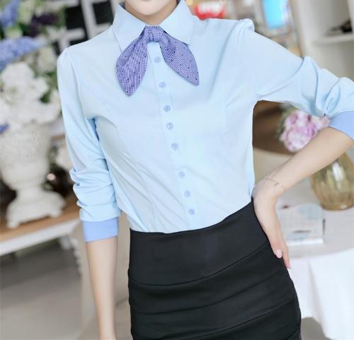 Nuova moda donna maglia foderato bottoni manica sbuffo lunghe da annodare sottile OL carriera camicetta top