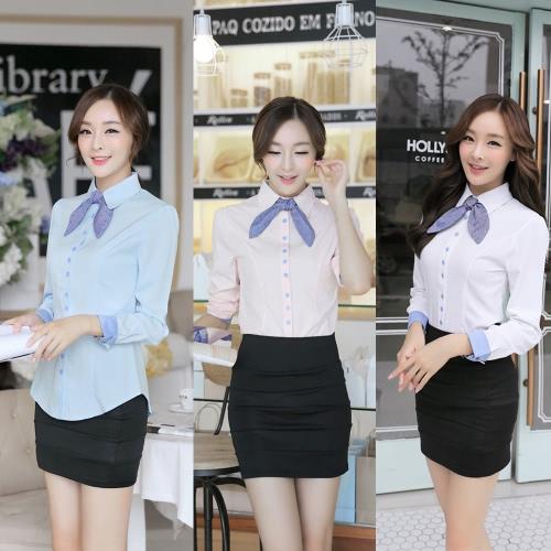 TOMTOP / Nova moda mulheres camisa forrada manga longa tragada de botão auto gravata Slim OL carreira Blusa Tops