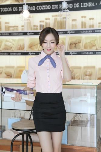 Nueva camiseta de las mujeres de moda forrada manga de soplo largo de botón lazo del uno mismo OL delgado carrera blusa Tops