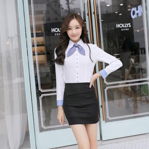 Nowa moda damska koszula pod szyją guzik długi rękaw dżinsy samoprzylepna slawka karuzeli bluzki Topy