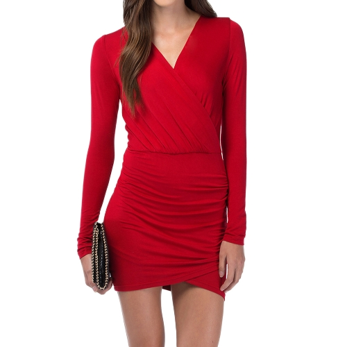 Moda donna avvolgere anteriore abito Sexy profondo scollo a v manica lunga Clubwear partito Mini Abito da sera