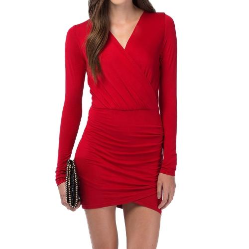 Fashion Women Wrap Front Dress Sexy Deep V-neck Long Sleeve Evening Party Clubwear Mini Dress