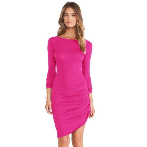 Nova moda mulheres Bodycon Dress cor dos doces colher pescoço manga longa assimétrica vestido