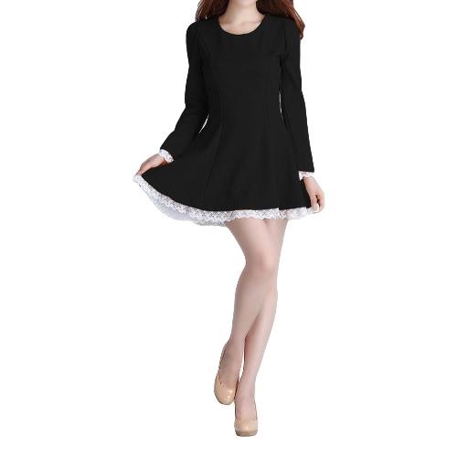 Nova moda mulheres vestido Lace trim cordões volta longa Puff manga plissada Slim Fit preto/bege/amarelo