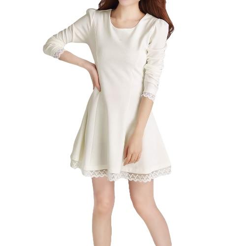Nuevo cordón del vestido de las mujeres de moda cortar cordones nuevo largo Puff manga plisada Slim Fit Negro/Beige/amarillo