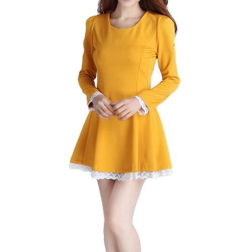 Nuova moda donna Dress Lace trim Lace-up Back lungo Puff manica pieghe Slim Fit Nero/Beige/giallo
