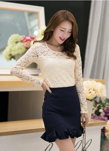 TOMTOP / Nova moda mulheres atam o oco de t-shirt gola redonda manga longa Casual Top