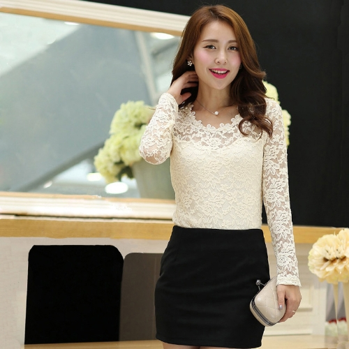 Moda donne Lady maglietta sottile pizzo floreale perlina Girocollo maniche lunghe camicetta Top