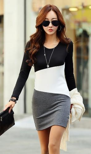 Nouveaux vêtements femme robe Patchwork col manches longues Casual chaleureux