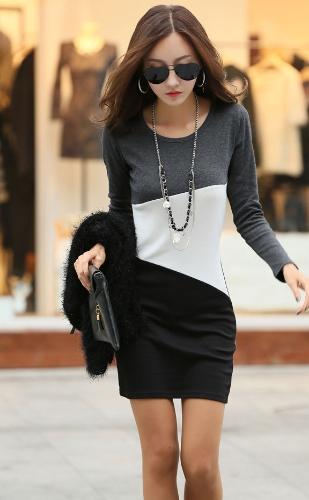 Nueva moda mujer vestido Patchwork cuello redondo manga larga Ropa Casual caliente