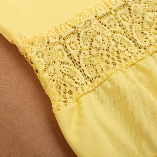 New Fashion Women Slim Dress Sleeveless Lace Splicing A-Line Basic Dress Yellow