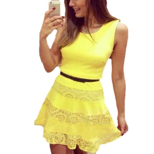 Nova moda mulheres magro vestido sem mangas rendas emendando a linha básica de vestido amarelo