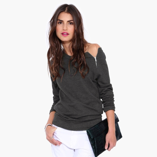 Fashion Women T-shirt Side Zipper Long Sleeve Casual Tops Blouse Black/Grey